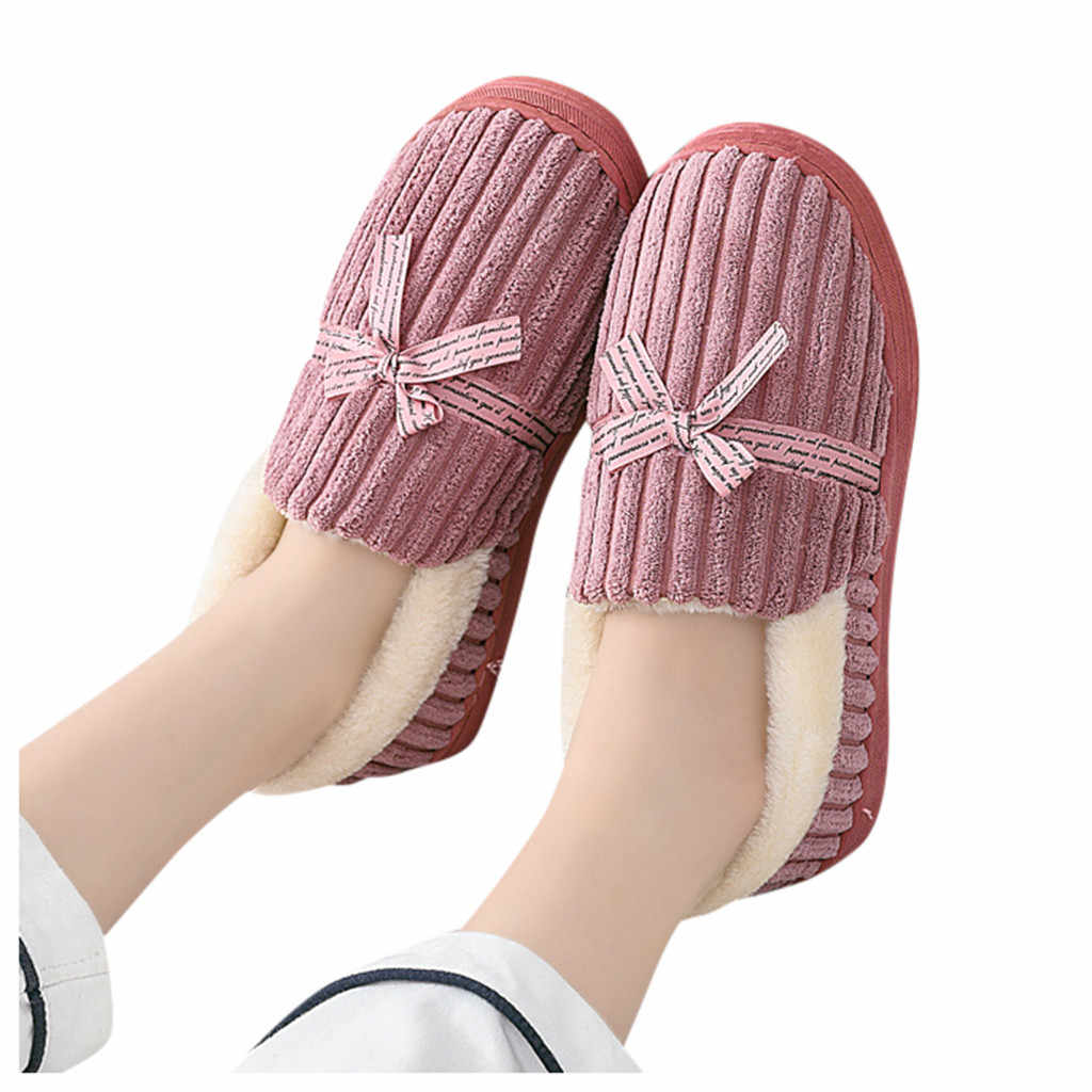 Warm Butterfly Knot Home Slippers Man Winter Warm Cotton-padded Slippers Floor Home Slippers Indoor Shoes zapatos de mujer