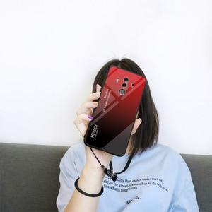 Image 2 - Voor Huawei Mate 10 Pro Case Gradiënt Gehard Glas Hard Telefoon Case Voor Huawei Mate 10 Pro Shockproof Back Cover mate10 Pro Shel