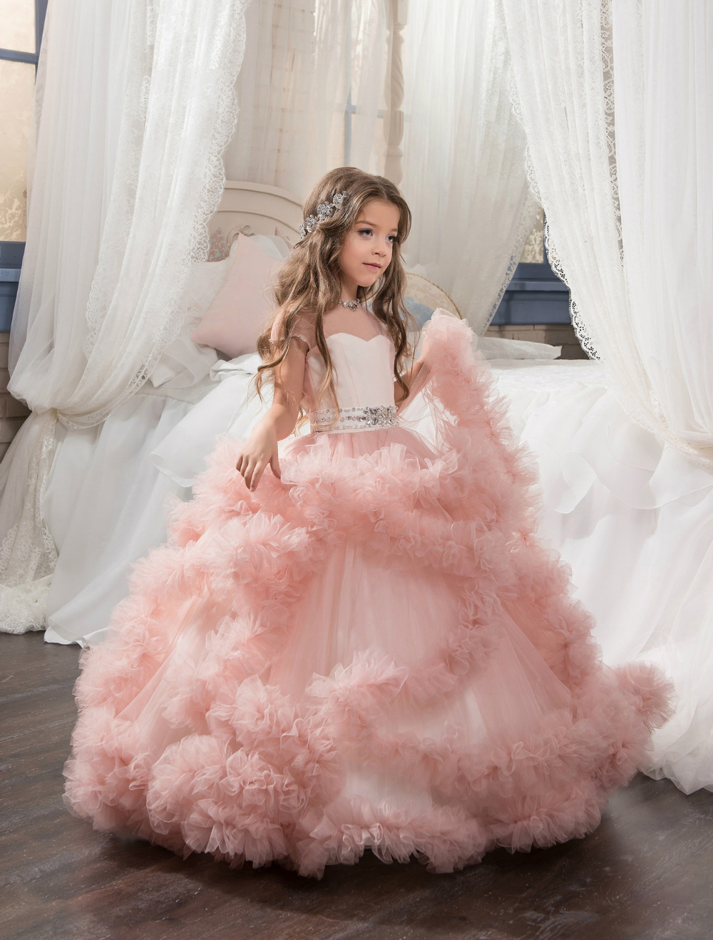Pink Flower Girl Dresses For Weddings Ball Gown Cap Sleeves Tulle Ruffles Crystals Long First Communion Dresses For Little Girls