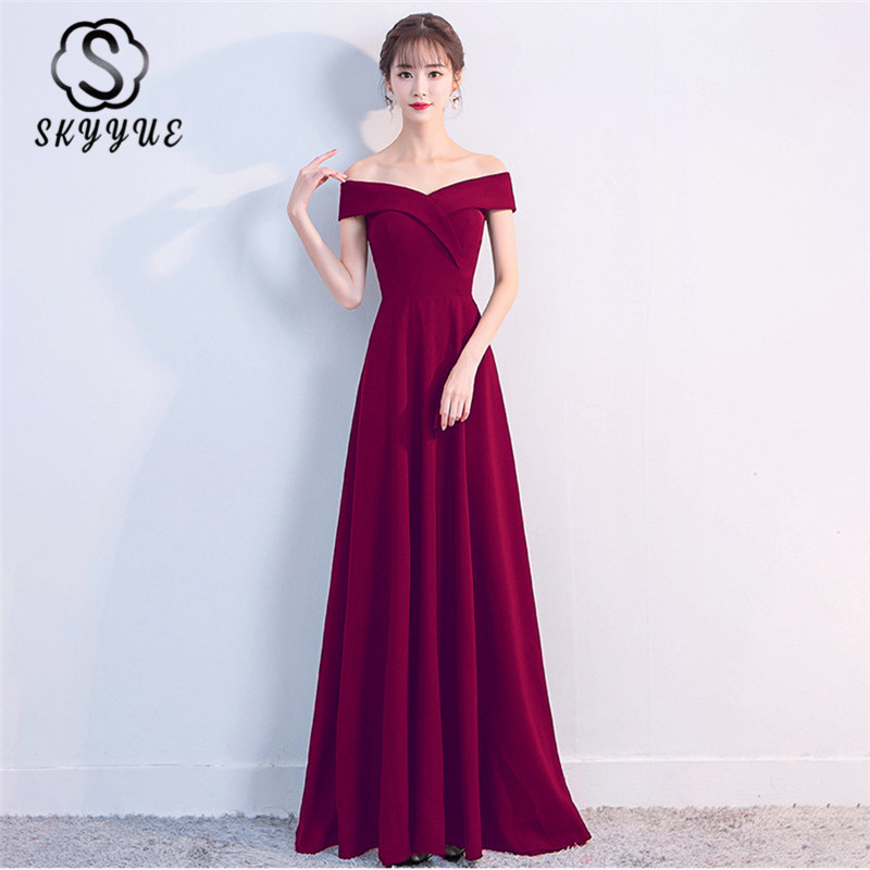 Skyyue Evening Dress Boat Neck Off Shoulder A-Line Robe De Soiree Short Sleeve Solid Floor-Length Women Party Dresses C152