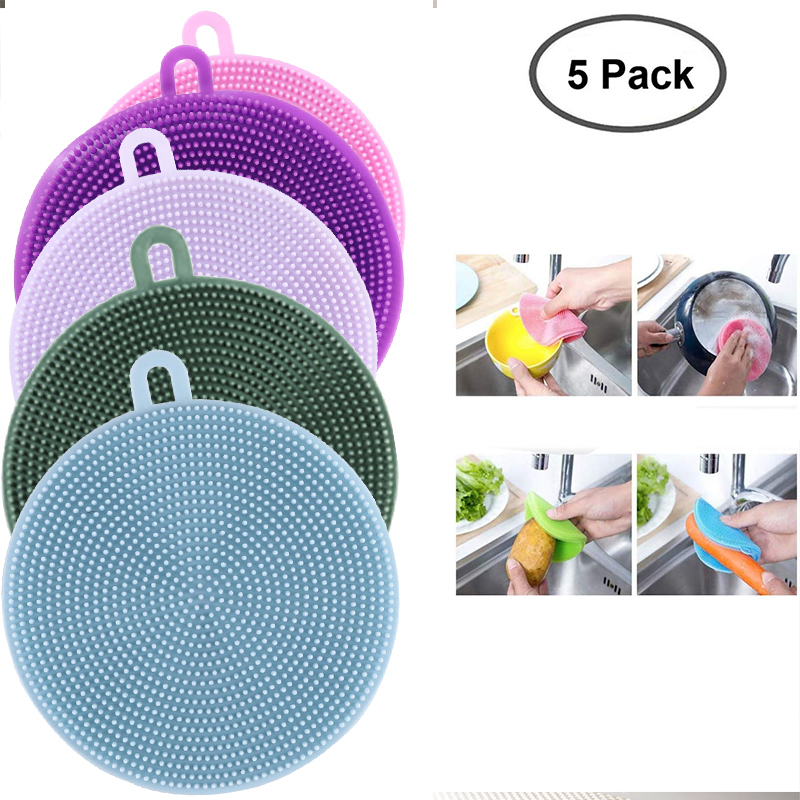5 Pieces Magnic Silicone Dish Sponge Washing Brush Scrubber 5 Pack Household Cleaning Sponges Brushes