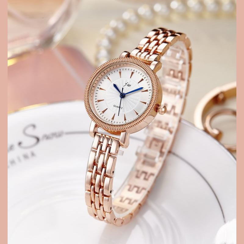 New Fashion Leisure Lady's Quartz Wrist Watch Stainless Steel Strip Bracelet Rose Gold Small Dial Gift Watch Student Watch