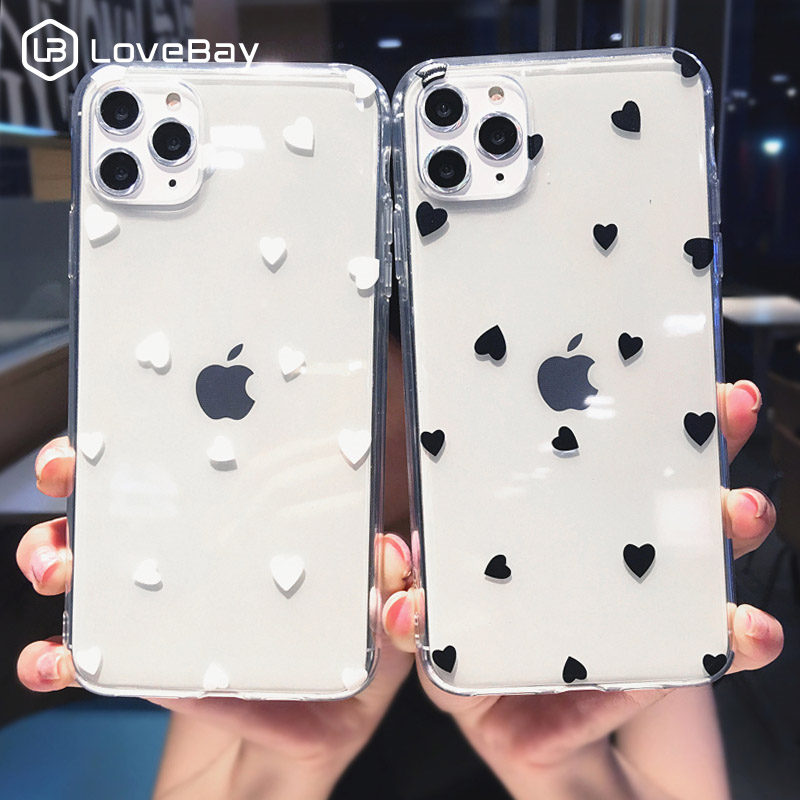 Lovebay Love Heart Clear Silicone Phone Case For IPhone 11 11 Pro X XR XS Max 7 8 6 6s Plus 5s SE Wave Point Soft TPU Back Cover