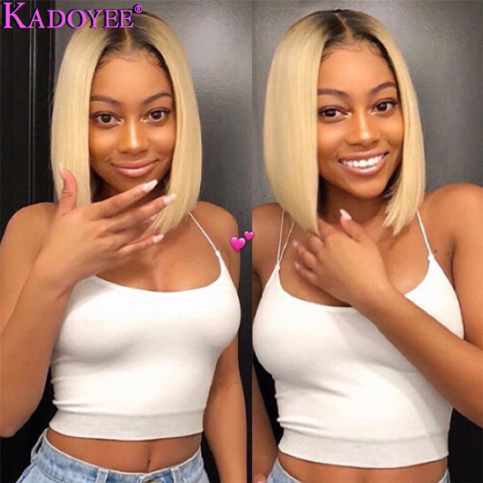 613 Bob Wig Short Blonde Human Hair Lace Front Wigs Straight Bob Frontal Wig Ombre 1b/613  Black Roots Pre Plucked  Blonde Wig