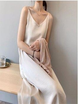 Spring and summer high quality women's dress satin luxury shiny suspender skirt imitation silk dress