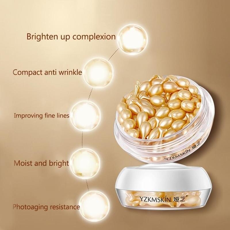 30pcs Placenta Serum Capsule Essence Day Night Fullerene Anti-wrinkle Hyaluronic Acid Vitamin E Whiten Skin Care