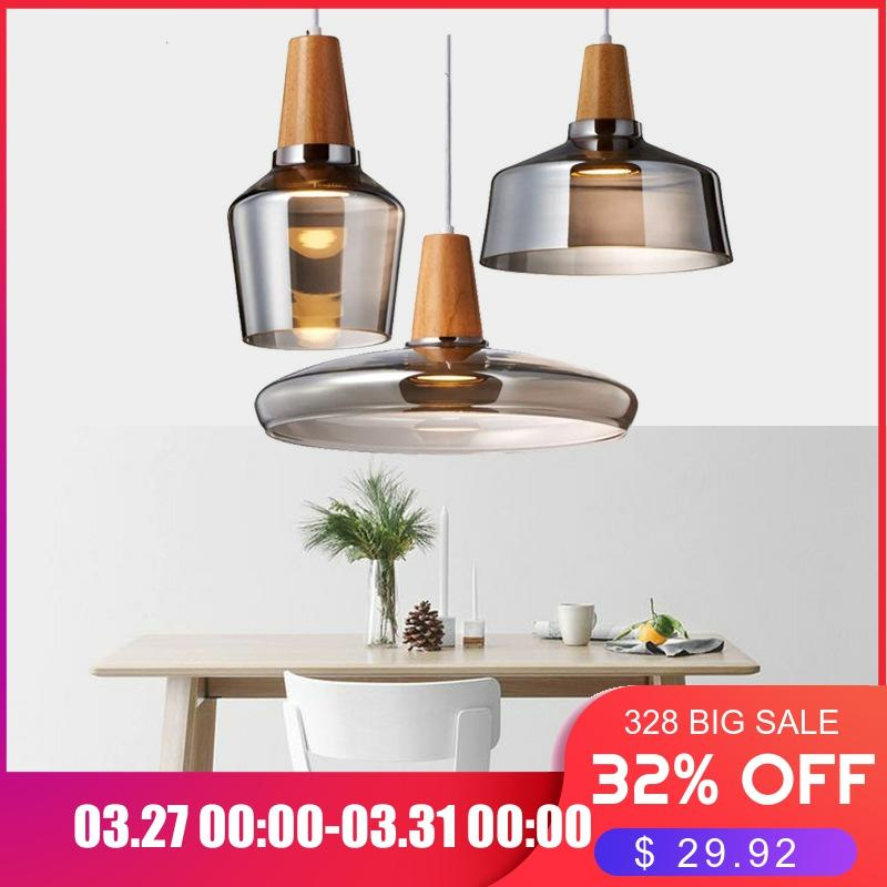 Modern Led Glass Pendant Light Fixture With Wood Vintage Rustic Hanging Lamp For Cafe Bar Restaurant Home Deco Loft Lighting|Pendant Lights| |  - title=