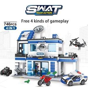 Image 3 - 746 pçs cidade polícia estação blocos de construção militar helicóptero swat ww2 carro equipe tijolos brinquedos educativos crianças