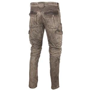 Image 2 - Motosiklet deri pantolon erkek deri pantolon kalın 100% inek derisi Vintage gri kahverengi siyah erkek Moto Biker pantolon kış 4XL m216
