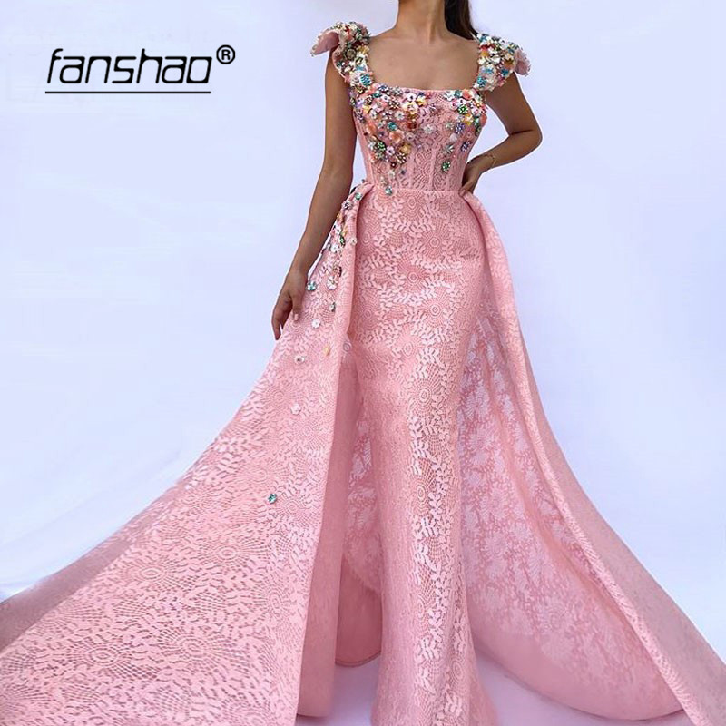 Pink Detachable Train Mermaid Evening Dress Lace Flower Vestidos Dubai Saudi Arabic Evening Gown Prom Dress  Robe De Soiree