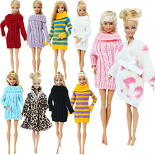 Handmade Multicolor Mini Knitted Sweater Fur Coat Doll Accessories Tops Dress Casual Wear Clothes for Barbie Doll Kids Toy