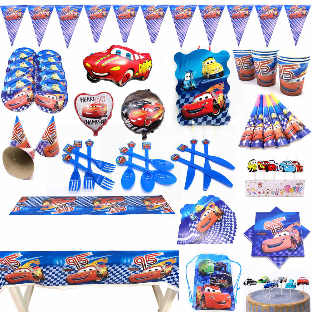 Disney Cars Party Supplies Birthday Decorations Kids Boy Set Disney Cars Birthday Theme Balloons Cake Toppers Banner Cups Plates Disposable Party Tableware Aliexpress