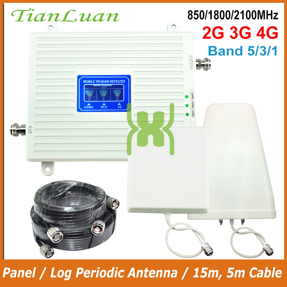 2G 3G 4G Tri Band Signal Booster CDMA 850+DCS/LTE 1800+WCDMA/UMTS 2100 Cell Phone Signal Repeater Cellular Amplifier Antenna Set