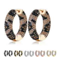ZEMIOR Kpop Earrings For Women Mixed Color Full Cubic Zirconia Golden Circle Hoop Earring Female Fashion Cobra CZ Party Jewelry