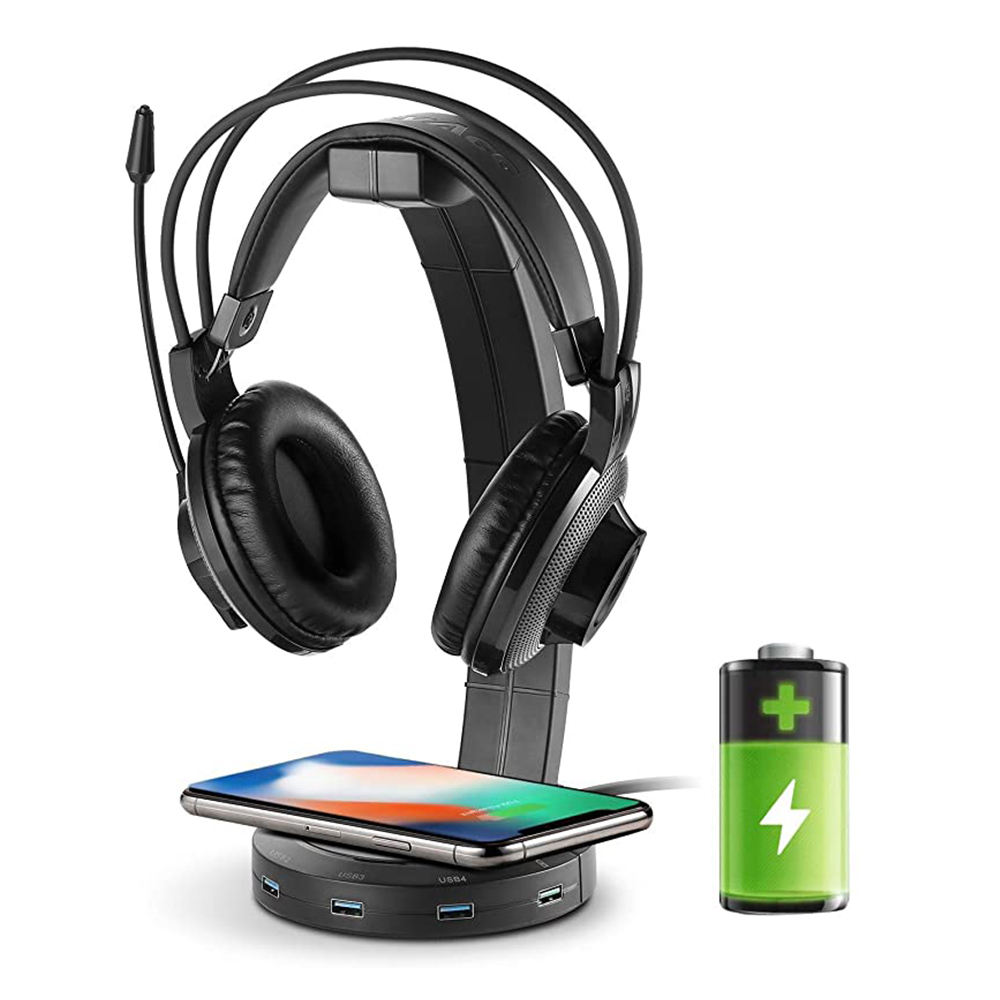 Wireless Fast Charging Headphone Stand with 4 USB2.0/3.0 Quick Charging Port Stable Foundation Headset Desk Hook Table Organizer|Earphone Accessories| - AliExpress