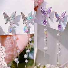 Beautiful Butterfly Purple Rhinestone Drop Earrings for Women Long Tassel Crystal Weddings Statement Jewelry Gift