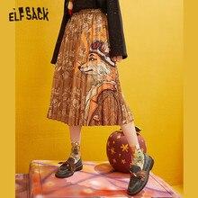 ELFSACK Fox imprimé taille haute jupes plissées femmes 2019 hiver nouvelle mode une ligne maigre bureau dames quotidien jupe longue