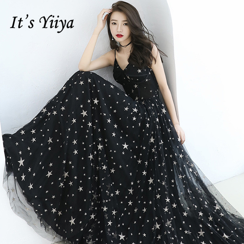 Forma Evening Dresses It's Yiiya BR249 Sexy Spaghetti Strap Robe De Soiree 2020 Lace Up Stars Pattern Elegant Long Evening Gown