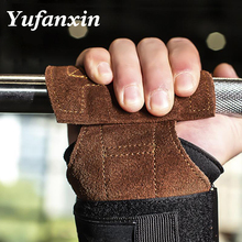 1Pair Cowhide Gym Gloves Grips Anti-Skid Weight Lifting Dead lifts Workout Cross