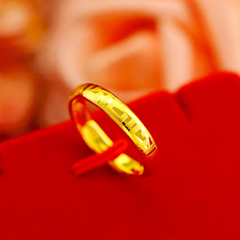 Simple 14K Yellow Gold Ring For Women Wedding Anniversary Rings Resizable Charming Statement Jewelry Birthday Gift For Girls