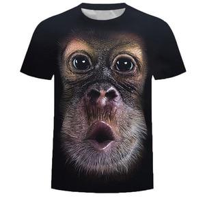 Модная мужская футболка в стиле хип-хоп с 3d принтом животных, свободная и удобная футболка из материала, Прямая поставка с фабрики
