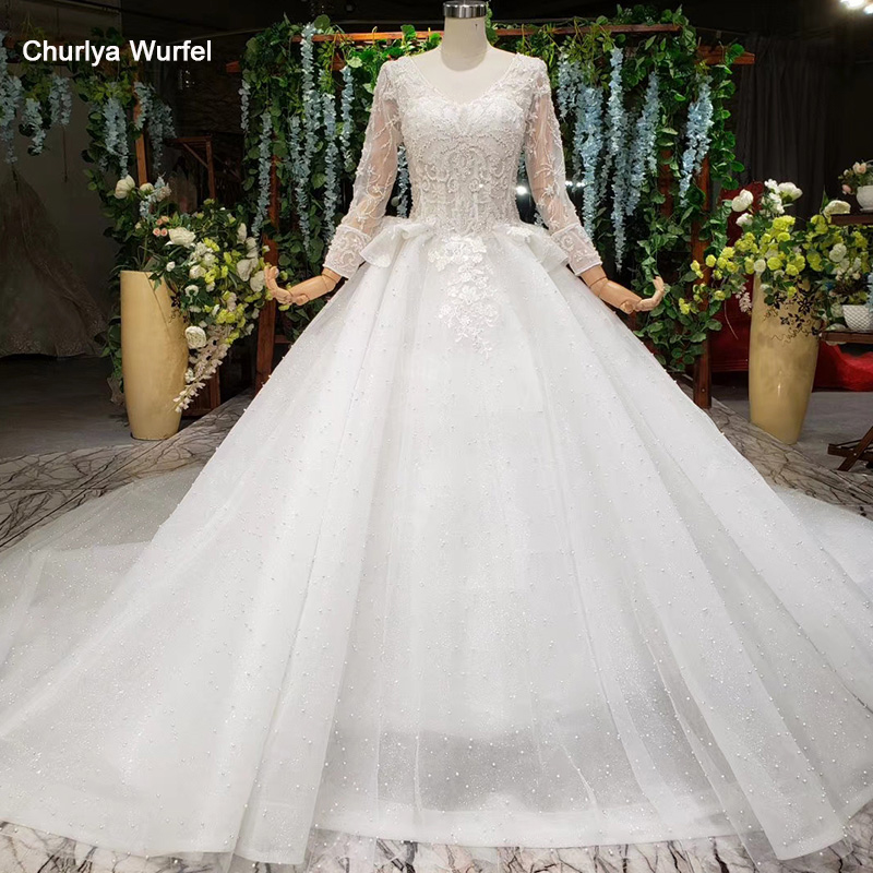 HTL993 Applique свадебное платье Peplum Train With Pearl Wedding Dress Long Sleeves Ivory Wedding Dress