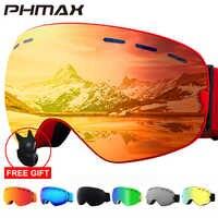 PHMAX 2019 gafas de esquí con máscara de esquí hombres mujeres Snowboard gafas de esquí protección UV400 Anti-niebla gafas para nieve esquí