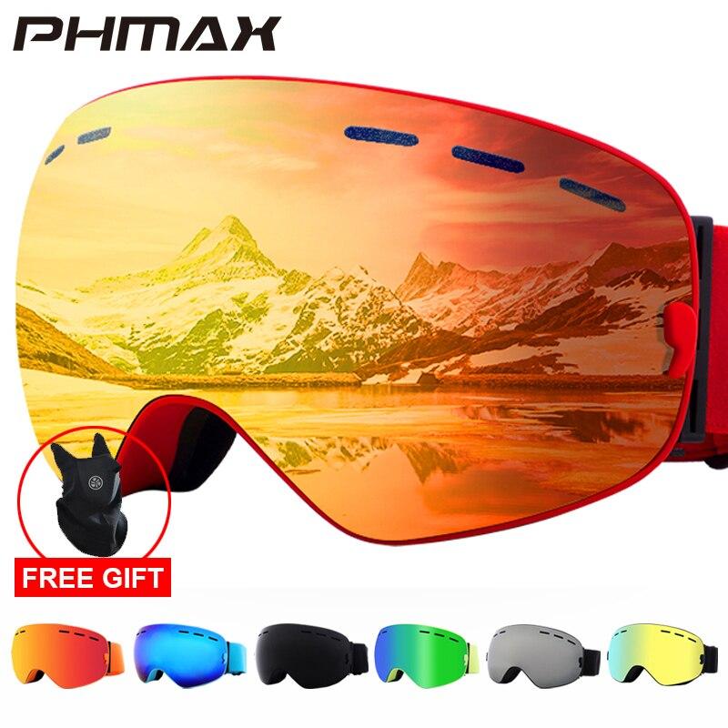 PHMAX 2020 Ski Brille Mit Ski Maske Männer Frauen Snowboard Brille Brille Skifahren UV400 Schutz Anti-fog Schnee Skifahren gläser