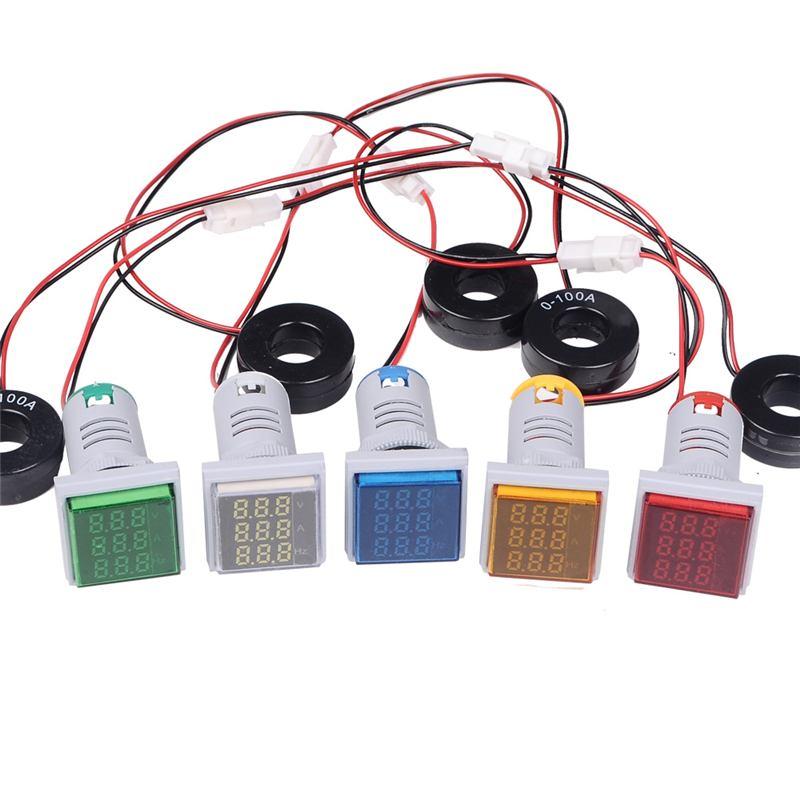 3 In 1 AC 60-500V 100A Square LED Digital Voltmeter Ammeter Hertz Meter Signal Light Current Combo Indicator Tester Round CT