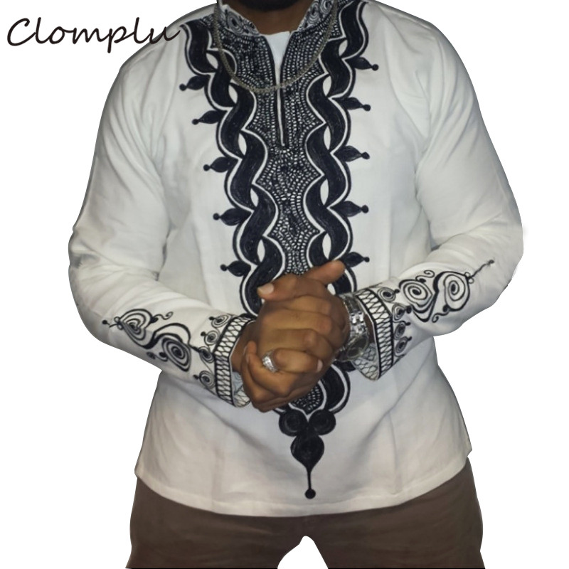 Clomplu Dashiki African Clothes Fashion Casual Printed Long Shirt African Dashiki Men Traditional White Tops Plus Size