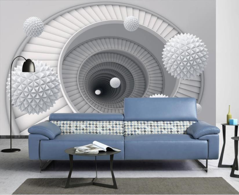 Custom Mural Wallpaper 3D Ball Spiral Staircase Photo Wallpaper Living Room Bedroom Hotel Expansion Space 3d Background Wall