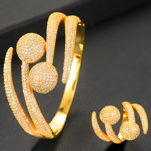 Image 4 - GODKI Luxury Disco Ball African Nigerian Bangle Ring Sets Indian Jewelry Sets For Women Wedding brincos para as mulheres