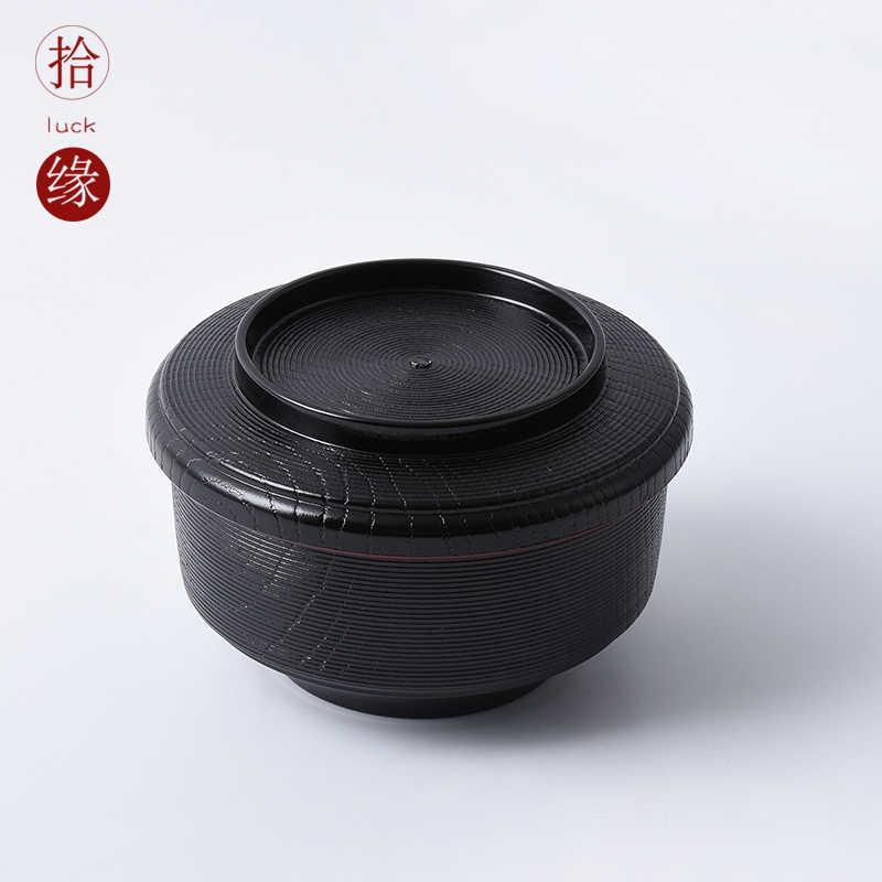 Japoński styl zupy miso pokrywa miska komercyjne plastikowe makaron instant mała miska dania kuchni koreańskiej zastawa stołowa kubek ramen łyżka 2 sztuk