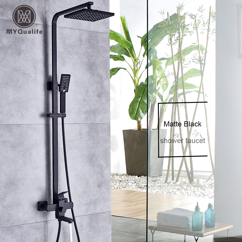 Luxurious Matte Black Rainfall Shower Faucet Set Single Lever Bathtub Shower Mixer Faucet Shower Hot Cold Water Tap