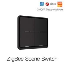 4 Gang Tuya ZigBee Wireless 12 Scene Switch Push Button Controller Battery Powered Automation Scenario for Tuya Devices Need Hub