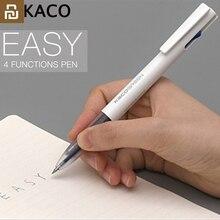 2019 Youpin KACO 4 In 1 Easy 4 FUNTIONS 펜 다기능 펜 0.5mm 검정 파랑 빨강 녹색 리필 젤 펜 사무실 학생용