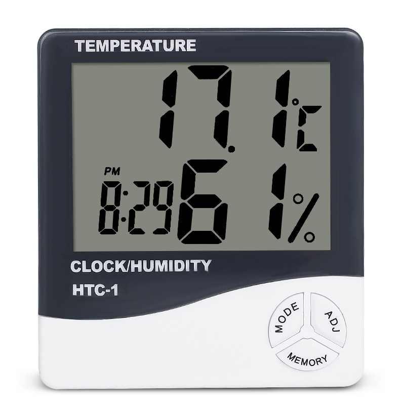 داخلي غرفة LCD الإلكترونية درجة الحرارة مقياس الرطوبة ميزان الحرارة الرقمي الرطوبة محطة الطقس ساعة تنبيه HTC-1