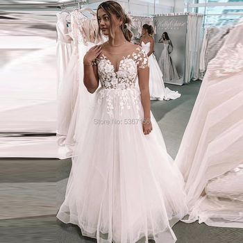 Boho Wedding Dresses Short Sleeves Scoop Lace Appliques A Line Bohemia Tulle Wedding Gown Beach Vestidos De Novia Court Train Buy At The Price Of 87 20 In Aliexpress Com Imall Com