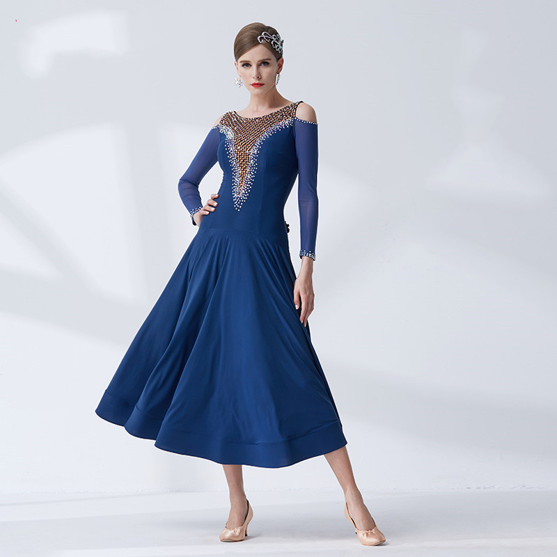 The New National Standard Modern Dance Clothing Big Pendulum Dress Practice Clothing Ballroom Dancing Waltz-M19400