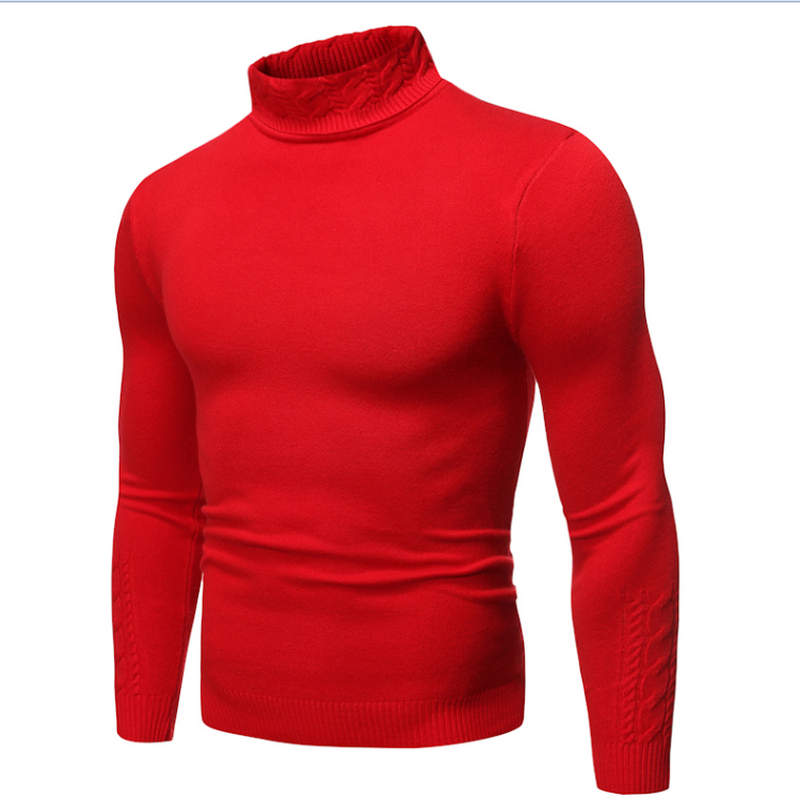 2019 Male Sweater Pullover Slim Warm Solid High Lapel Jacquard Hedging British Men's Clothing Mens Turtleneck
