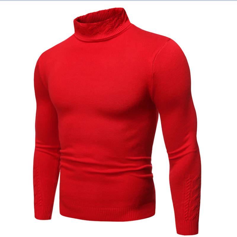 2019 Male Sweater Pullover Slim Warm Solid High Lapel Jacquard Hedging British Men's Clothing Mens Turtleneck