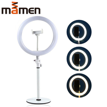 MAMEN LW-50 10 inches USB Ring Light With Phone Holder 3800/6800K LED Video For Youtube Studio Makeup Live Selfie