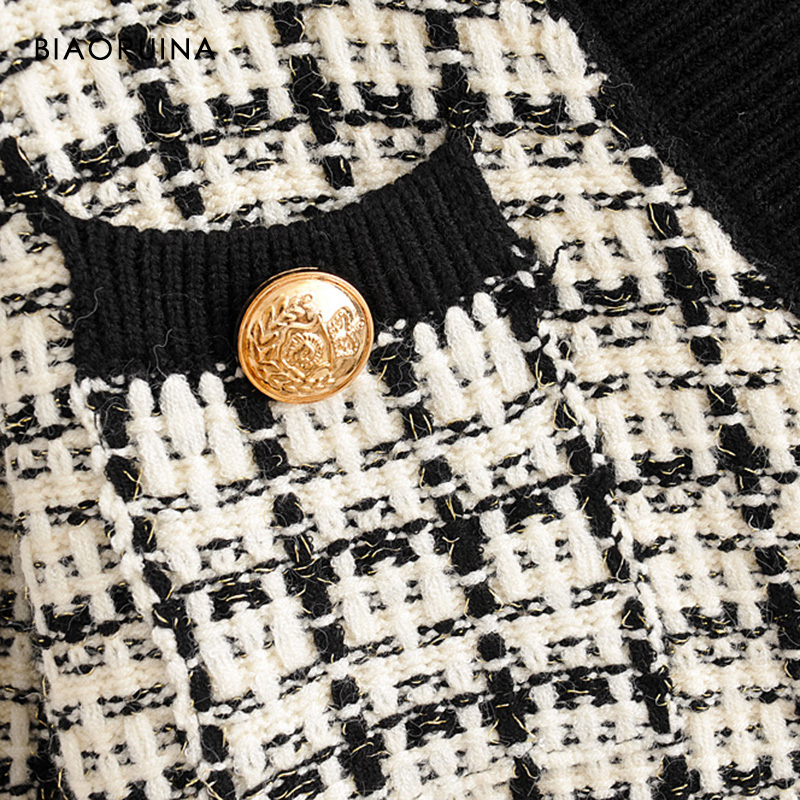 Image 4 - BIAORUINA Womens Fashion V neck Chic Single Breasted Knit  Cardigans Female Thick Keep Warm Swallow Gird Plaid Sweater  OuterwearCardigans