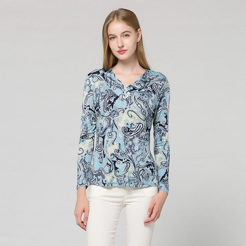 Soie naturelle à manches longues t-shirt femmes automne hiver grande taille col en v t-shirt thermique hauts sous-vêtements femme t-shirt haut