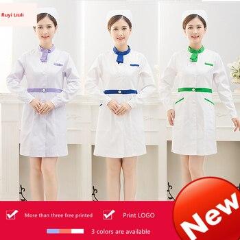 Nurses wear long sleeve female Korean version of slim tattoo artist cosmetologist dental pharmacy hospital uniform dress