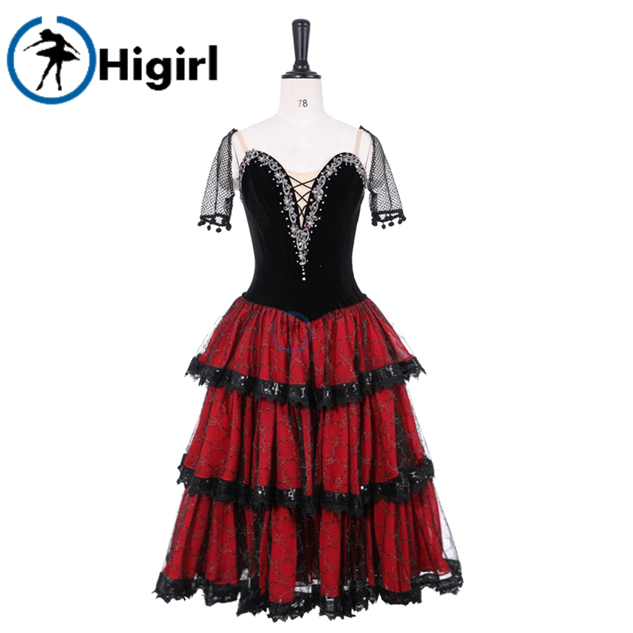 Don Quixote Variation Performance Tulle Dress Spanish Kitri Ballet Long Tutu Red Black,Professional Ballet Stage Costume BT9500