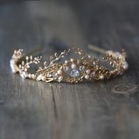 High Quality Gold Tiaras Prom Pearl Crystal Zircon Crowns Bridal Hair Accessories Queen Women Headband Diadem Wedding Jewelry