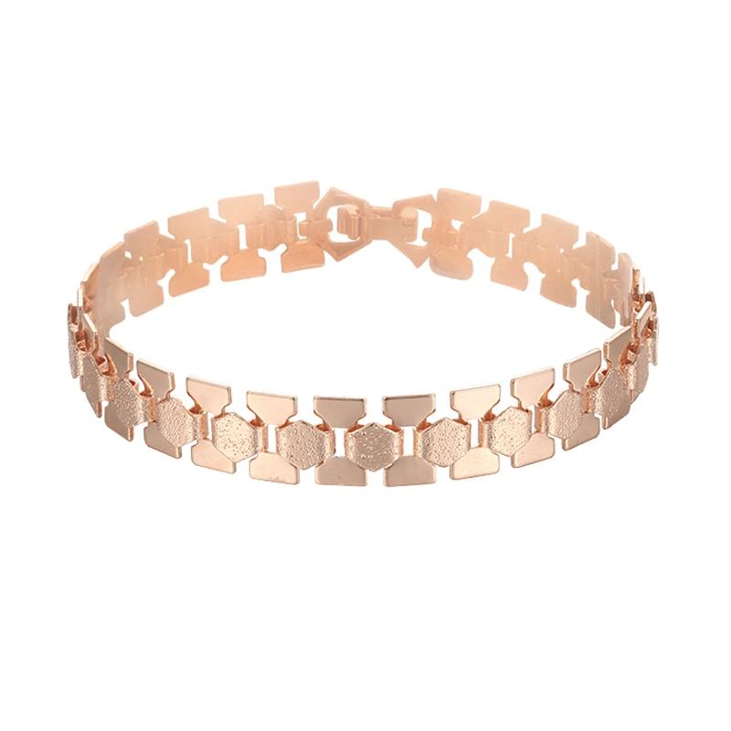 15 Style Choose Women Men Girl 585 Rose Gold Color Curb/Weaving Bracelets Chains Jewelry 18cm-23cm