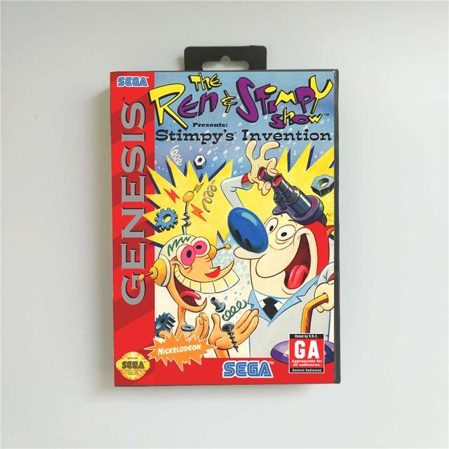 仁 & stimpyショープレゼントstimpyの発明 usaカバーとリテールボックス 16 ビットmdゲームカードセガメガドライブジェネシス