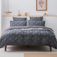 3 Pieces Embroidery Plaid Pattern Dark Gray Jacquard Bedding Set Nordic Cover For Bed 150 Soft Washed Microfiber Duvet Cover Set